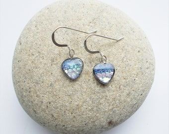 Small Blue Heart Shaped Earrings, Iridescent with Sterling Silver Ear Wires