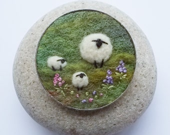 Sheep and Lambs Brooch, Needle Felted Wool in Green Shades with Embroidered Flowers. Handmade in Scotland. 5 cm Round