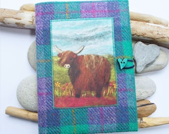 Highland Cow Harris Tweed Removeable Notebook Journal Jacket, Handmade with Artwork Printed on Velvet, A5 size with Plain Paper Included