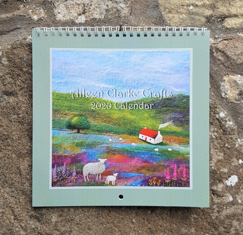 2020 Wall Calendar Scottish Fibre Art Scenes with Sheep image 0