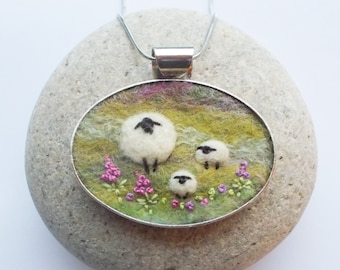Sheep Pendant, Green Needle Felted Necklace, Felt Jewellery made with Hand Dyed Wool and Silk Fibres