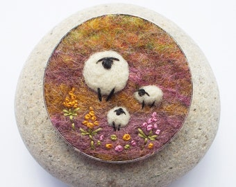 Felt Sheep Brooch, Needle Felted Shawl Pin in Autumn Fall Tones. Handmade in Scotland, 5 cm/ 2 inches wide.