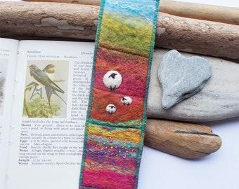 Felt Bookmark with Sheep on Rainbow Landscape Hills. Keepsake Wool Book Marker with Tartan on The Reverse. Handmade in Scotland.