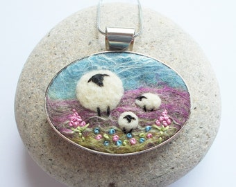 Sheep Pendant, Needle Felted Necklace, Sky Blue, Pink and Green Felt Art Jewellery with Embroidered Spring Flowers. Handmade in Scotland.