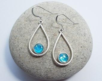 Turquoise Drop Shaped Earrings, Blue Open Teardrop Shape with Sterling Silver Ear Wires.
