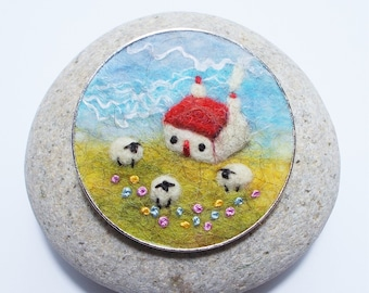 Cottage and Sheep Brooch, Needle Felted with Embroidered Flowers, Handmade in Scotland, 5 cm, 2 inches wide.