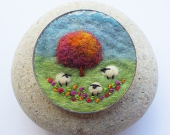 Sheep and Autumn Tree Brooch Pin. Needle Felted Wool, Round 5 cm. Handmade in Scotland