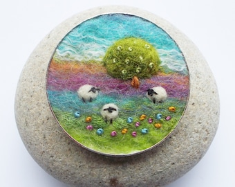 Sheep and Tree Brooch, Needle Felted Wool Pin, Round 5 cm. Handmade in Scotland