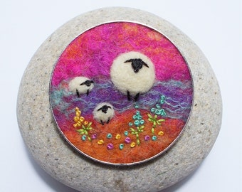 Sheep and Lambs Brooch, Needle Felted Wool in Cerise Pink, Purple and Orange with Embroidered Flowers, Handmade in Scotland. 5 cm Round