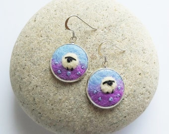 Sheep Earrings, Needle Felted Wool in Blue and Bright Purple with Sterling Silver Ear Wires.  Handmade in Scotland