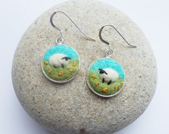 Needle Felted Sheep Earrings, Turquoise and Green with Yellow French Knots, Handmade in Scotland. Gift Box Included.