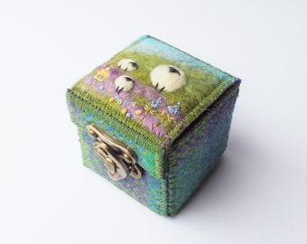 Miniature Keepsake Box Made With Harris Tweed and Needle Felted Wool Featuring Sheep and Embroidered Flowers, Handmade in Scotland