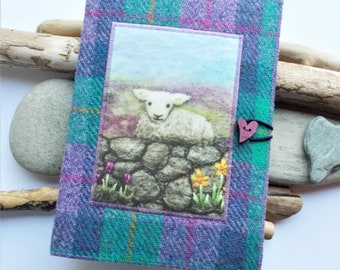 Little Lamb Harris Tweed Covered Notebook, Handmade with Sheep Artwork Printed on Velvet, A5 with Removeable Plain Paper Notebook Included
