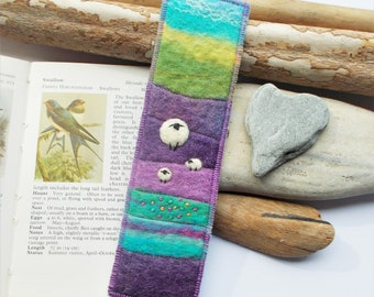 Felted Sheep Bookmark with Purple Landscape Hills. Keepsake Book Marker. Handmade in Scotland