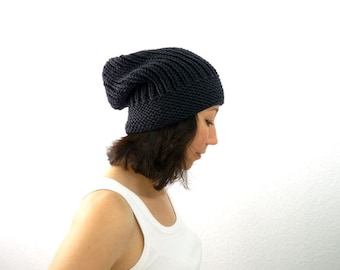 PDF Knitting PATTERN / Printable Knitting INSTRUCTIONS to Hand Knit the Boyfriend Slouch Hat / Beanie / Watch Cap. 3 Sizes. Instant Download