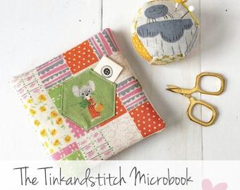 Tinkandstitch Microbook digital PDF sewing pattern, needlebook, simple, beginner ready, bonus pincushion pattern