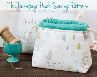 Tinkalong Pouch sewing pattern, pouch, drawstring bag, beginner friendly