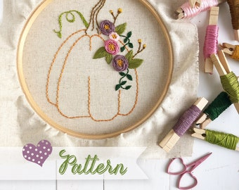 The Prettiest Pumpkin digital pattern hand-embroidery, stitching, embroidery, pdf file