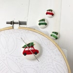 Christmas Cars magnetic needleminder, embroidery, sewing notion, stitching accessory, holiday, pine