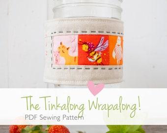 Tinkalong Wrapalong digital PDF sewing pattern, wide mouth mason jar wrap, jar cozy