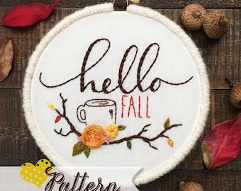 Hello Fall, Hello Coffee digital hand-embroidery pattern