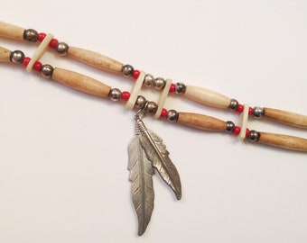 Vintage Native American Choker Necklace, Natural Materials Carved Beads, Red Glass Beads, Bohemian Necklace