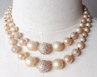 Vintage Multistrand Sugar Bead Necklace, Marked Japan Vintage Cream Jewelry Necklace