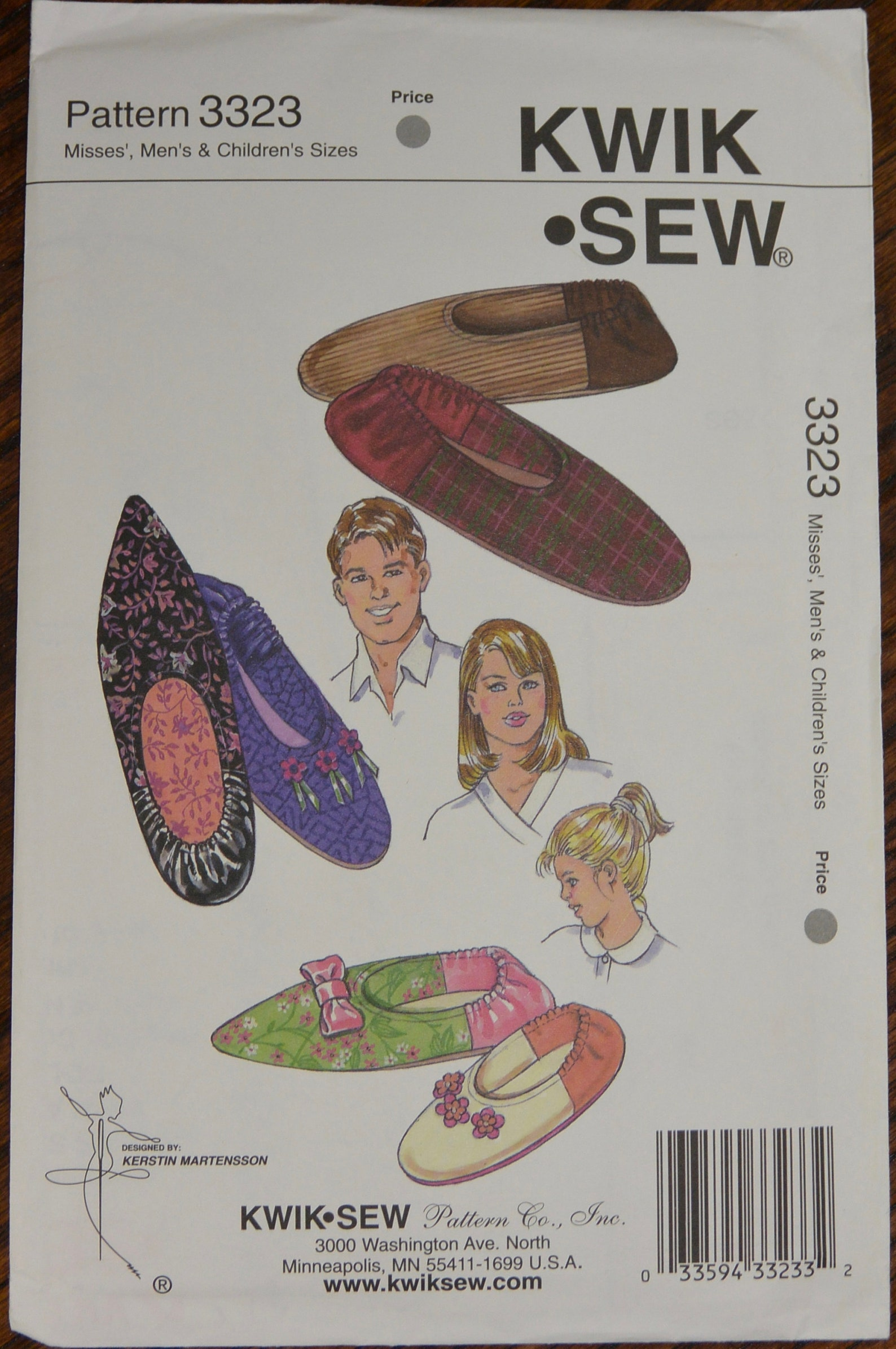 misses or mens slippers sewing pattern - ballet flats sewing pattern -craft sewing pattern - kwik sew 3323
