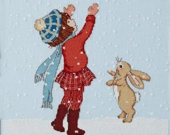 Catching Snow Cross Stitch Pattern Downloadable PDF Christmas