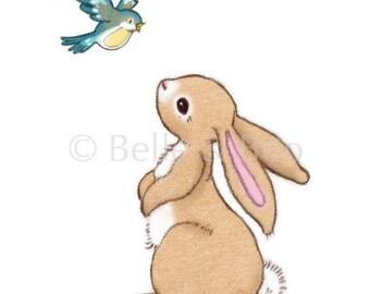 Bunny Wall Decal, Rabbit Wall sticker, nursery, bird, Boo & the Bluebird Wallsticker