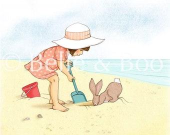 My Red Bucket, beach art print, vintage beach girl
