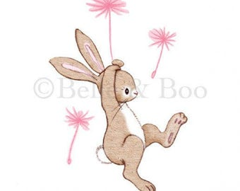 Bunny wall sticker, rabbit wall decal, nursery decor, pink, girls bedroom Boo and the Dandelion Wall sticker