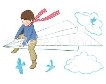 Paper Plane Boy Wall sticker wall decal Boys bedroom