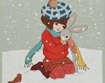 Winter Hug Cross Stitch Pattern Downloadable PDF Christmas