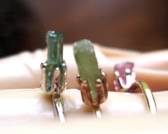 Ring Tiny Raw Tourmaline crystals stacker - Ready to Mail Sale- Pink or green size 4.25 or blue size 5 -- Only One of each