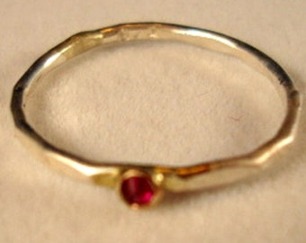 A Teensy Red Ruby in 10K gold and sterling silver ring - Custom Made in your size - Fair Trade, eco-friendly and conflict free -USA