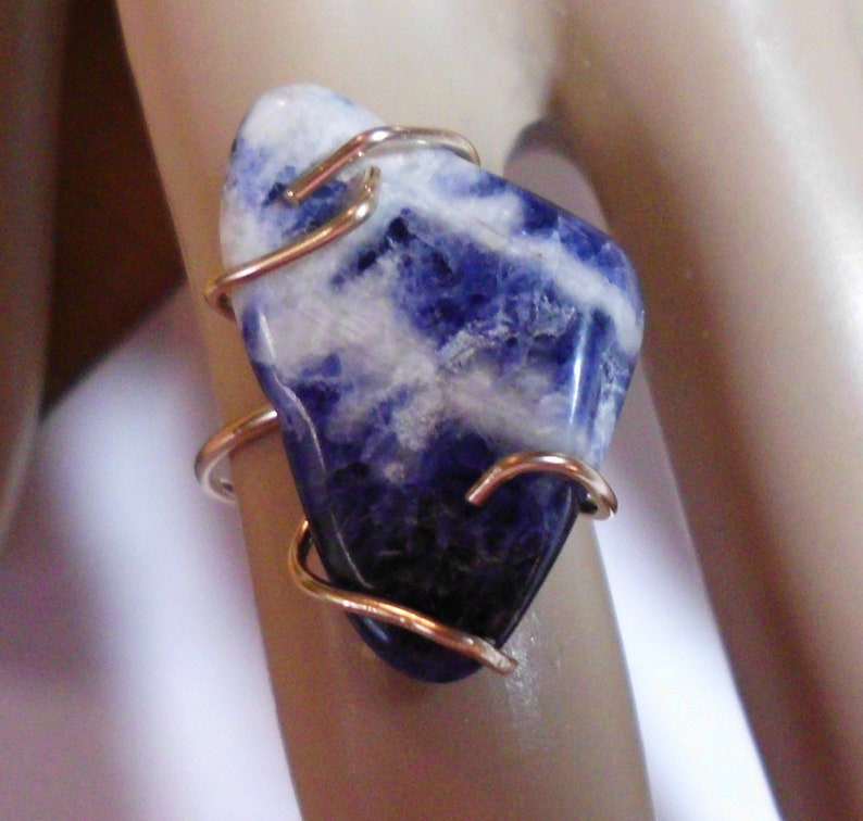 Minimal simple brutalist Blue n white Raw Sodalite set in Gold filled claws Size 6  READY To Mail 15x25mm Only one like it ever