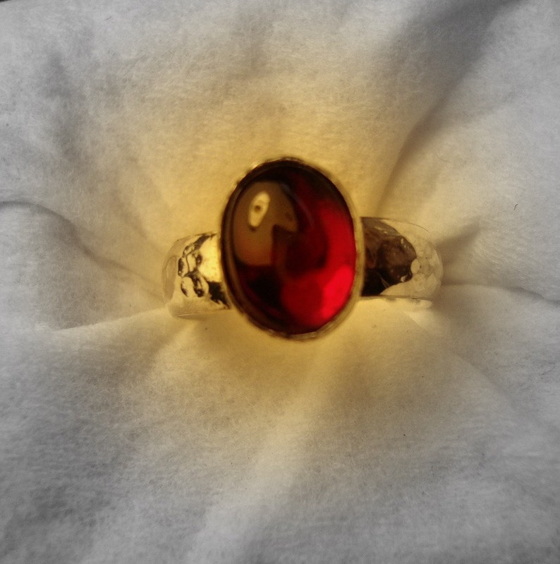 Fair Trade eco friendly lab ruby Red Ruby Ring .925 sterling silver READY to MAIL Size 5.25 corundum Sale