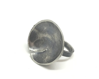SALE!  Sterling silver bowl ring hammered bowl ring abstract bowl ring ixidized bowl ring