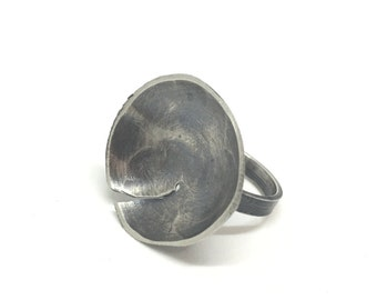 SALE!  Sterling silver bowl ring hammered bowl ring abstract bowl ring oxidized bowl ring