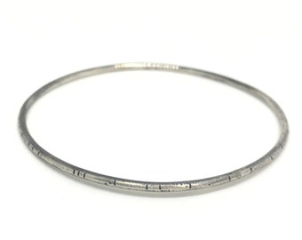 Heavy duty everyday bangle bracelet textured heavy bangle thick gauge heavy bracelet simple everyday bangle sterling silver oxidized bangle
