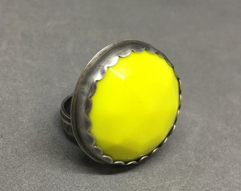 Neon yellow ring faceted glass neon yellow vintage faceted glass button bug yellow ring large yellow ring sterling silver yellow ring