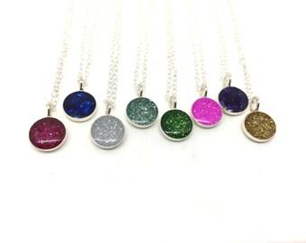 SALE!  WHITE Sparkle necklace silver charm necklace tiny charm necklace glitter necklace sterling silver charm necklace silver glitter neck