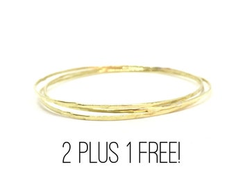 TWO 14k Gold Bangle Bracelets - plus ONE FREE! Special Listing.