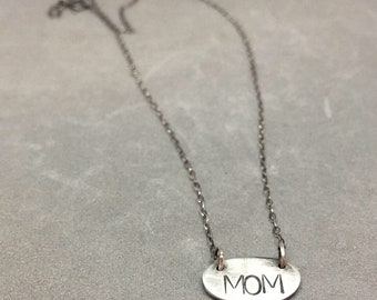 MOM necklace silver Mother's Day necklace sterling silver charm necklace Mom Mother's Day gift
