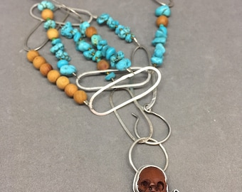 Skull necklace druzy necklace turquoise necklace sandalwood necklace long necklace