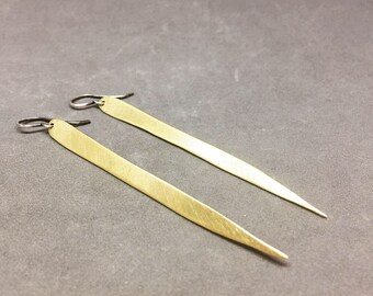 Long spear earrings brass dangle earrings long drop earrings long gold earrings