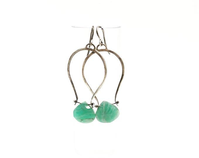 Featured listing image: Amazonite hoop earrings siler hoop earring silver hoops Sterling silver hopps