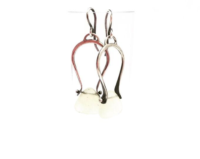 Featured listing image: Jade horseshoe earrings light green earrings silver dangle earrings silver drop earrings silver swing earrings jade earrings