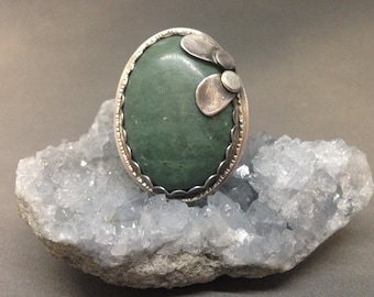 Green Jasper Ring statement ring large ring art jewelry giant ring large green ring big green ring jasper ring art ring